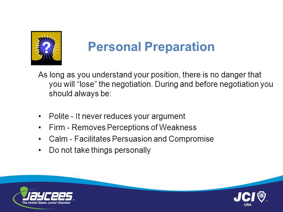 Personal Preparation