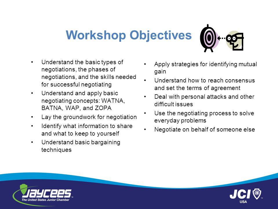 Workshop Objectives Understand the basic types of negotiations, the phases of negotiations, and the skills needed for successful negotiating.
