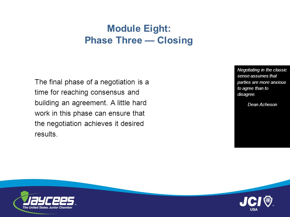 Module Eight: Phase Three — Closing