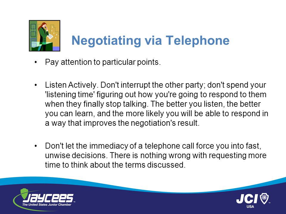 Negotiating via Telephone