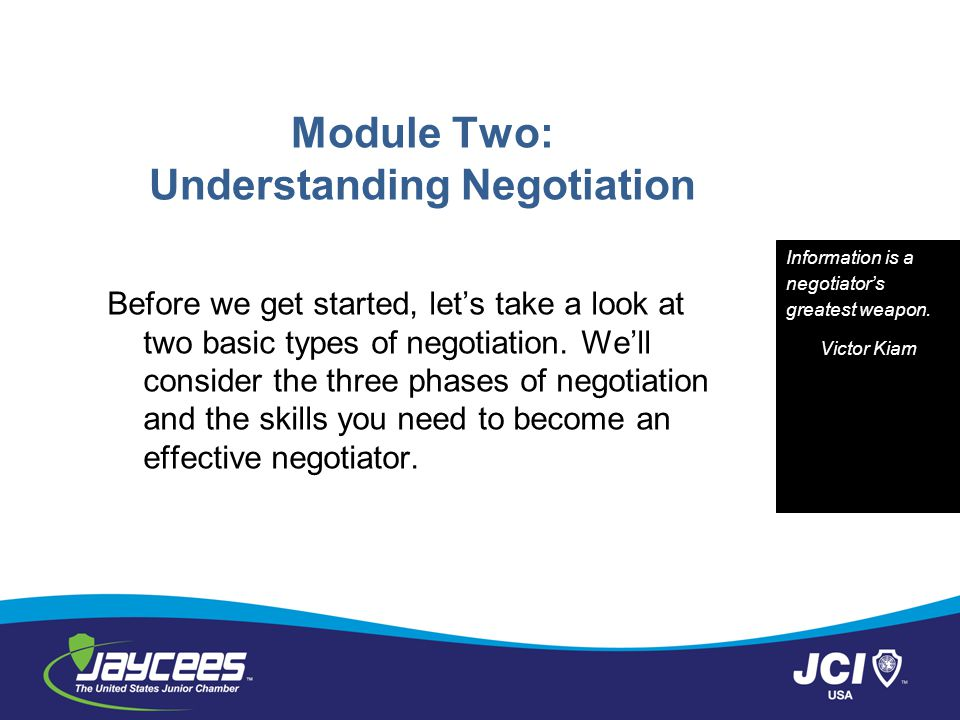 Module Two: Understanding Negotiation