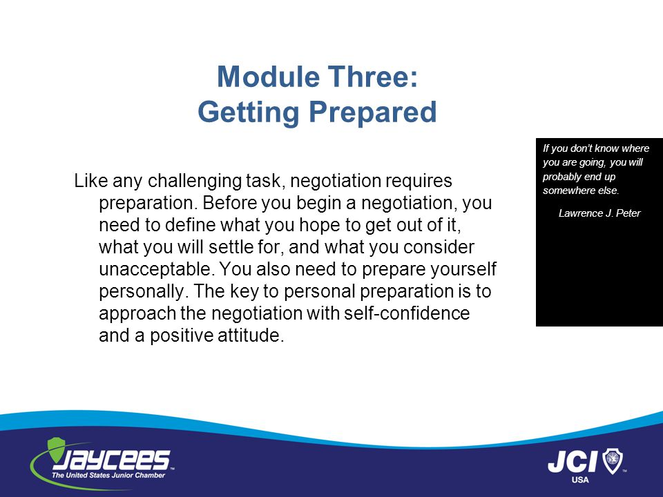 Module Three: Getting Prepared