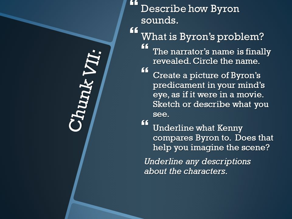 Chunk VII: Describe how Byron sounds. What is Byron's problem