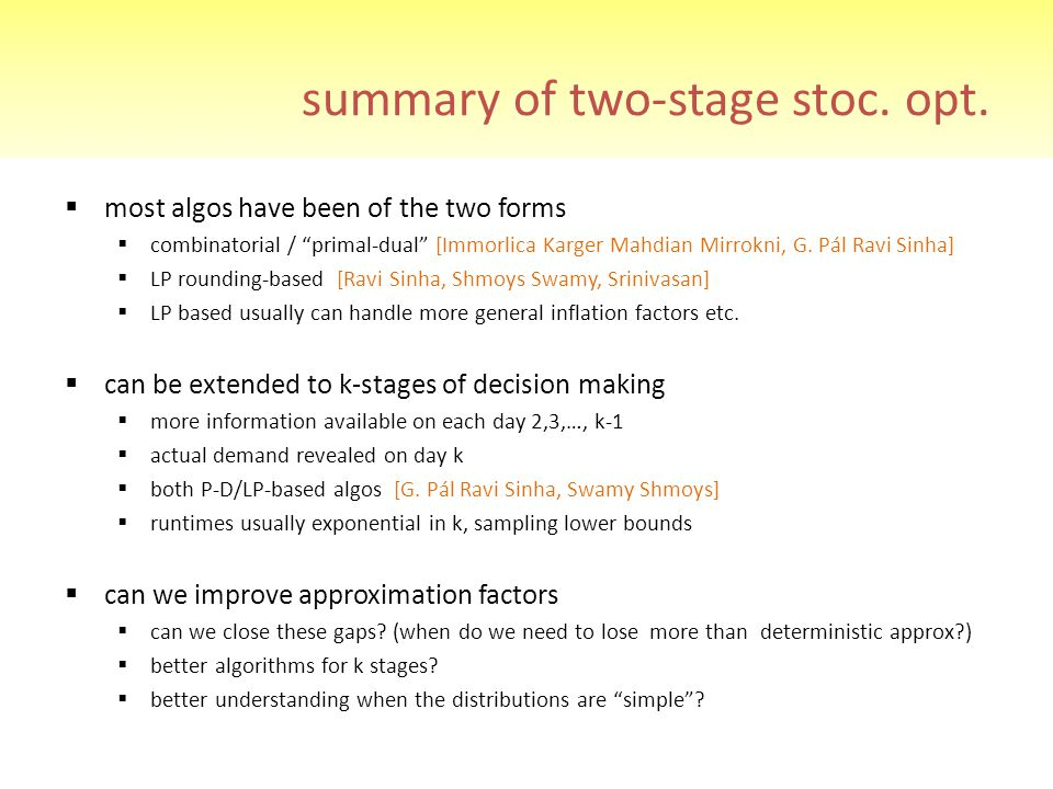 summary of two-stage stoc. opt.