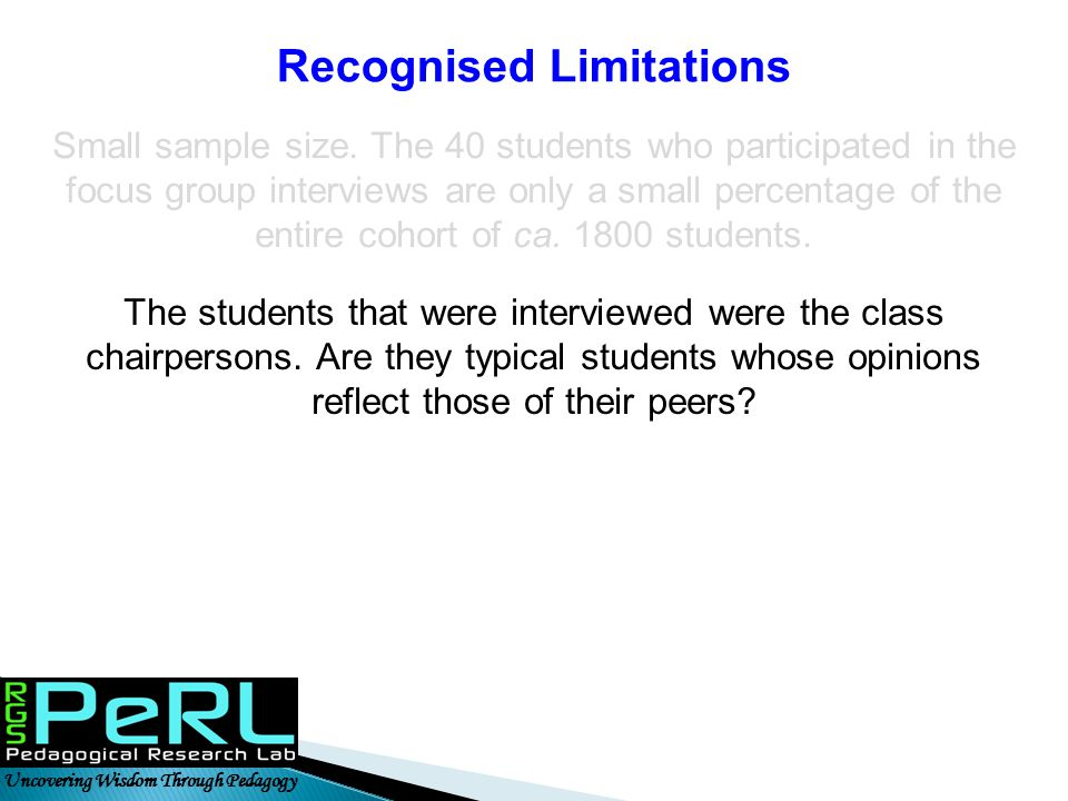 Recognised Limitations