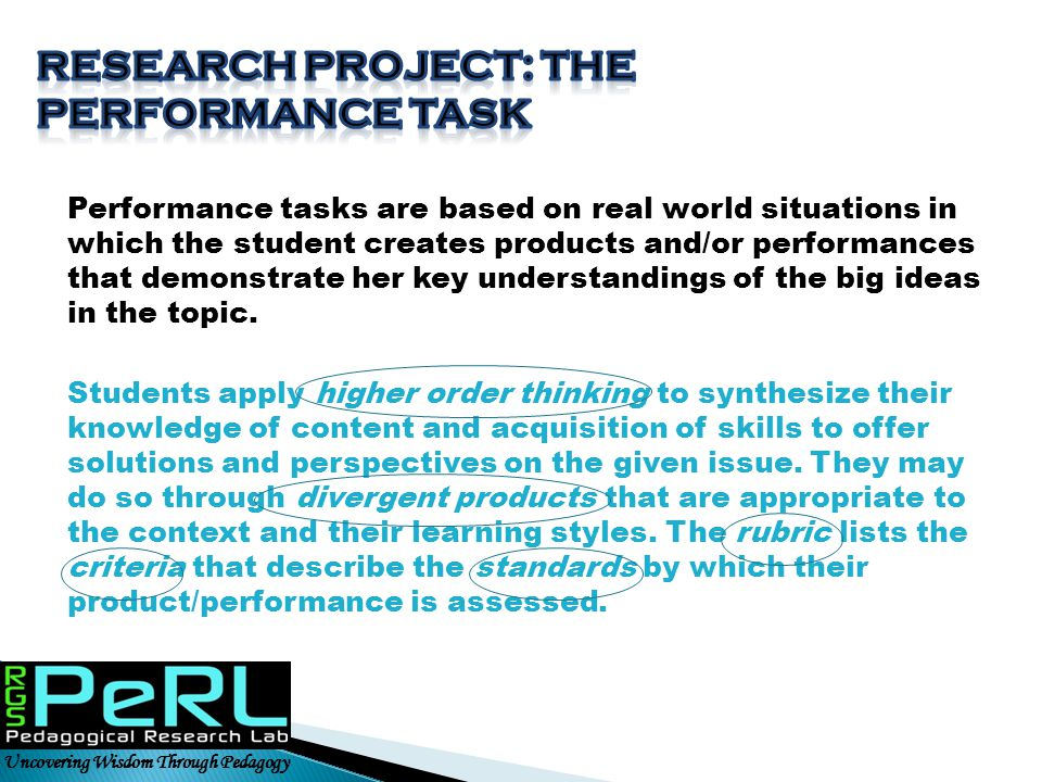 Research project: The performance Task