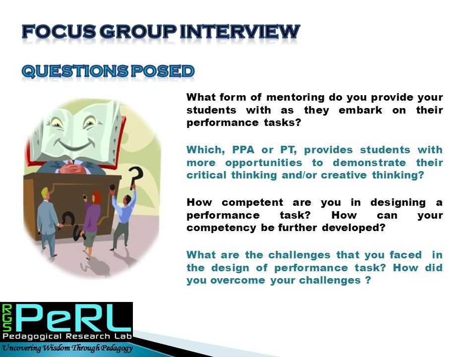 Focus Group interview Questions posed