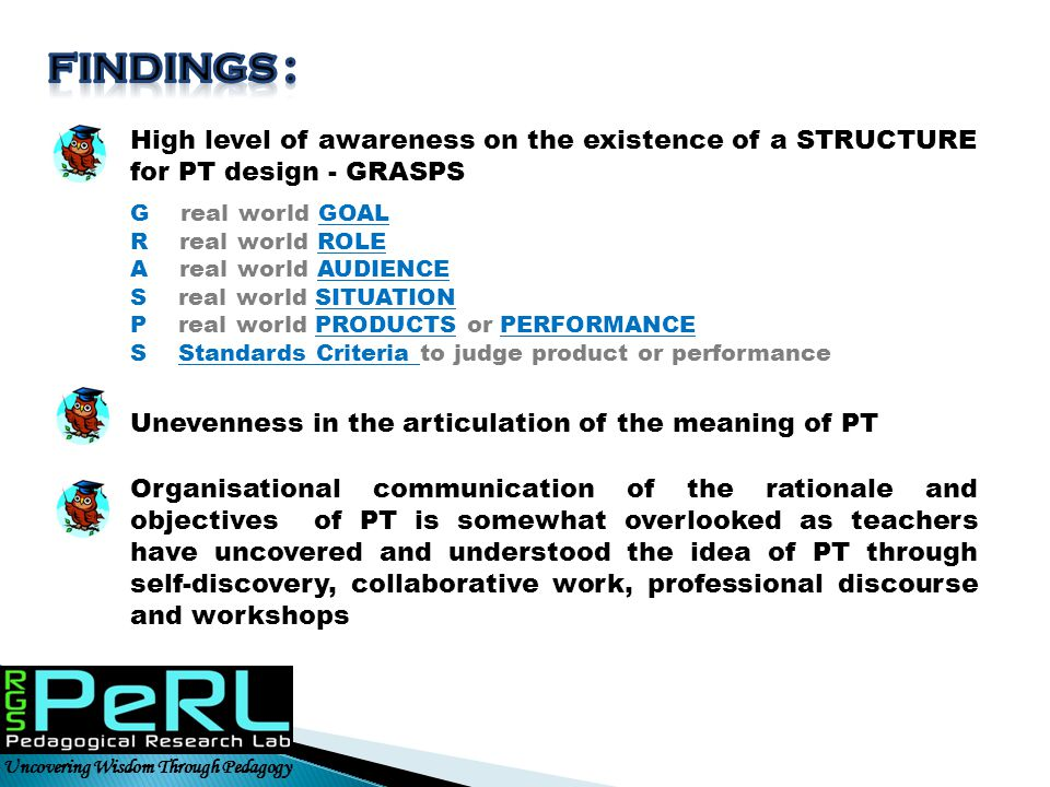 FINDINGS : High level of awareness on the existence of a STRUCTURE for PT design - GRASPS. G real world GOAL.