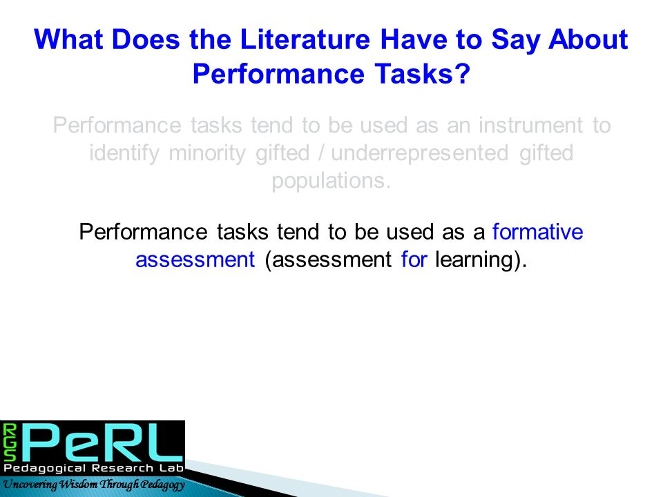 What Does the Literature Have to Say About Performance Tasks