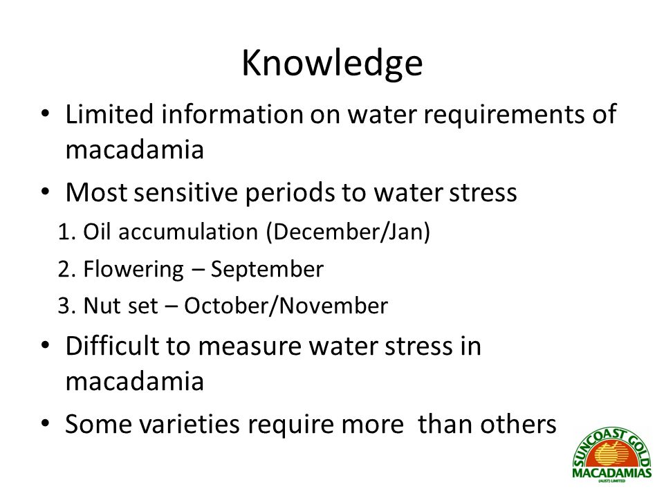 Knowledge Limited information on water requirements of macadamia