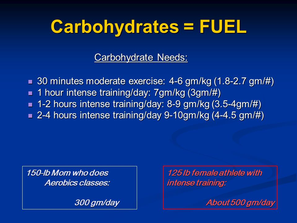 Carbohydrates = FUEL Carbohydrate Needs: