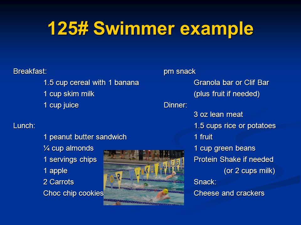 125# Swimmer example Breakfast: pm snack