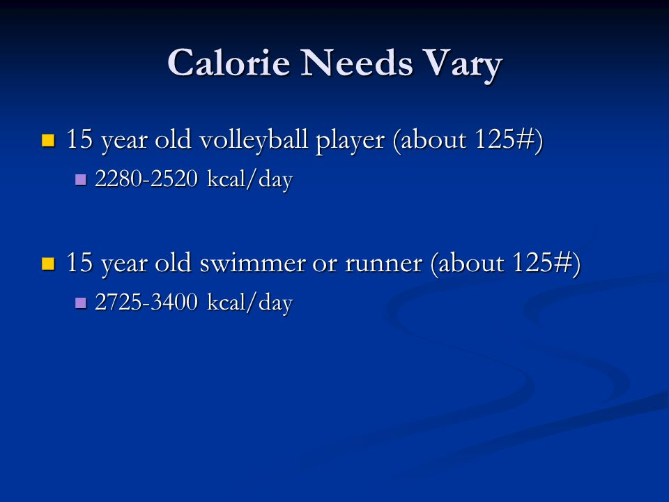 Calorie Needs Vary 15 year old volleyball player (about 125#)
