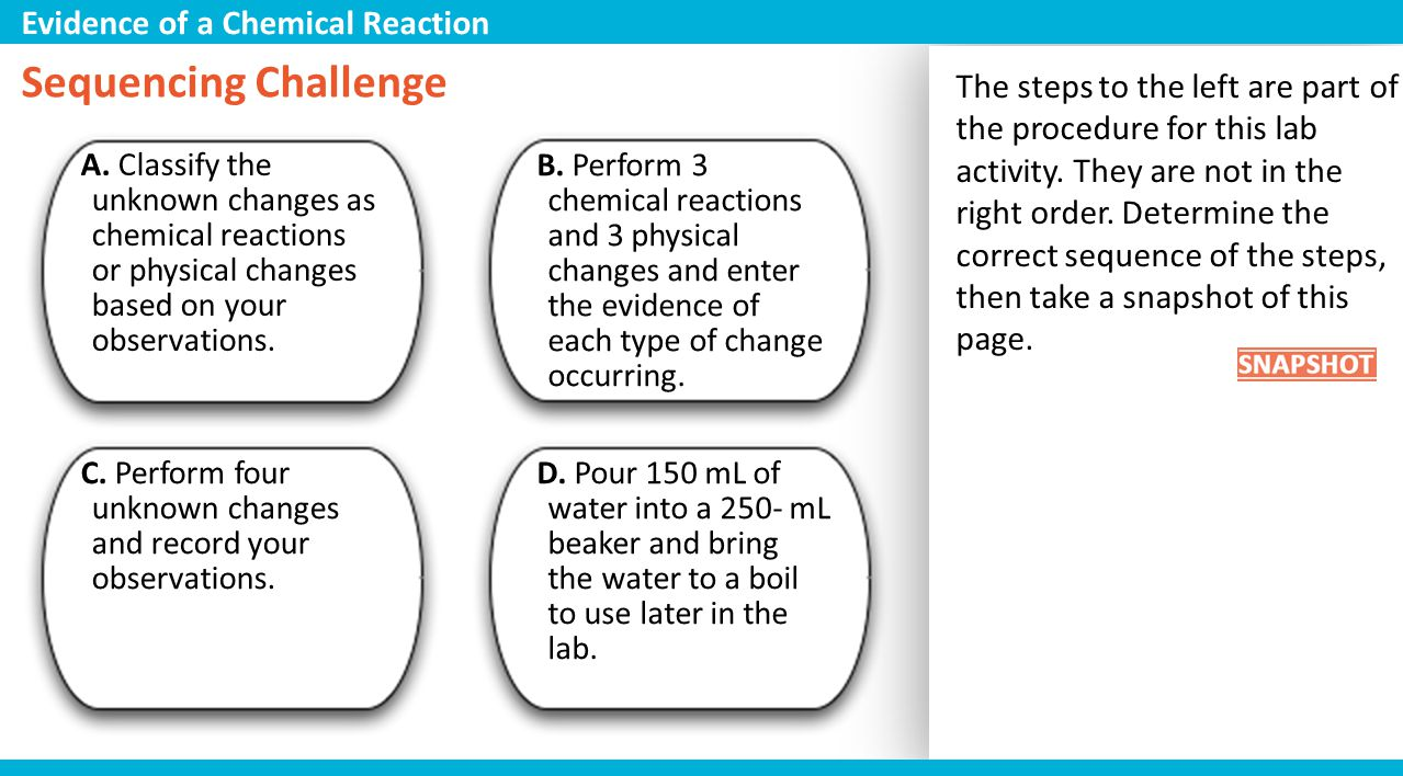Sequencing Challenge Evidence of a Chemical Reaction
