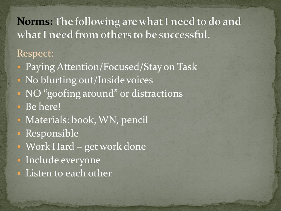 Norms: The following are what I need to do and what I need from others to be successful.