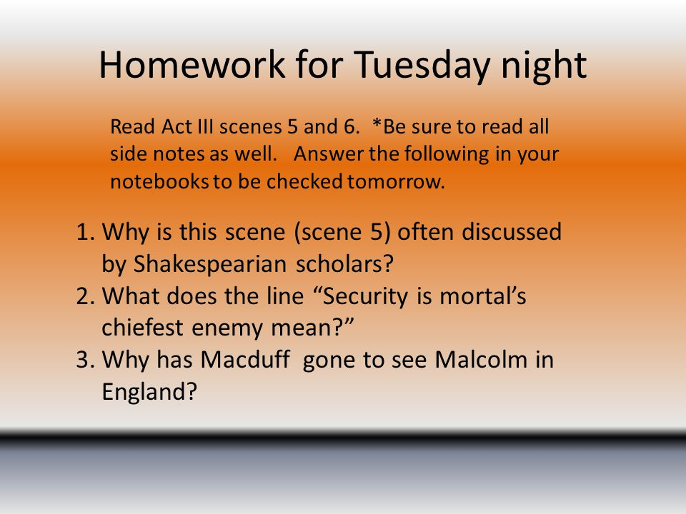 Homework for Tuesday night