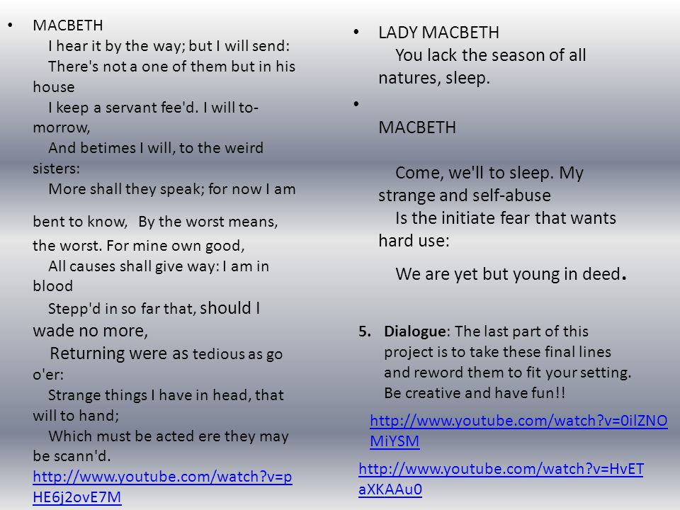 LADY MACBETH You lack the season of all natures, sleep.