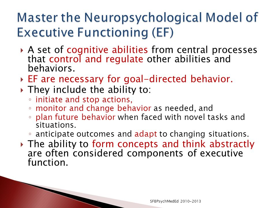 Master the Neuropsychological Model of Executive Functioning (EF)