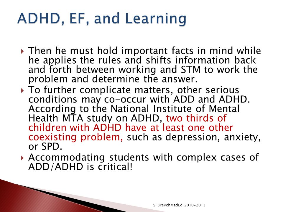 ADHD, EF, and Learning