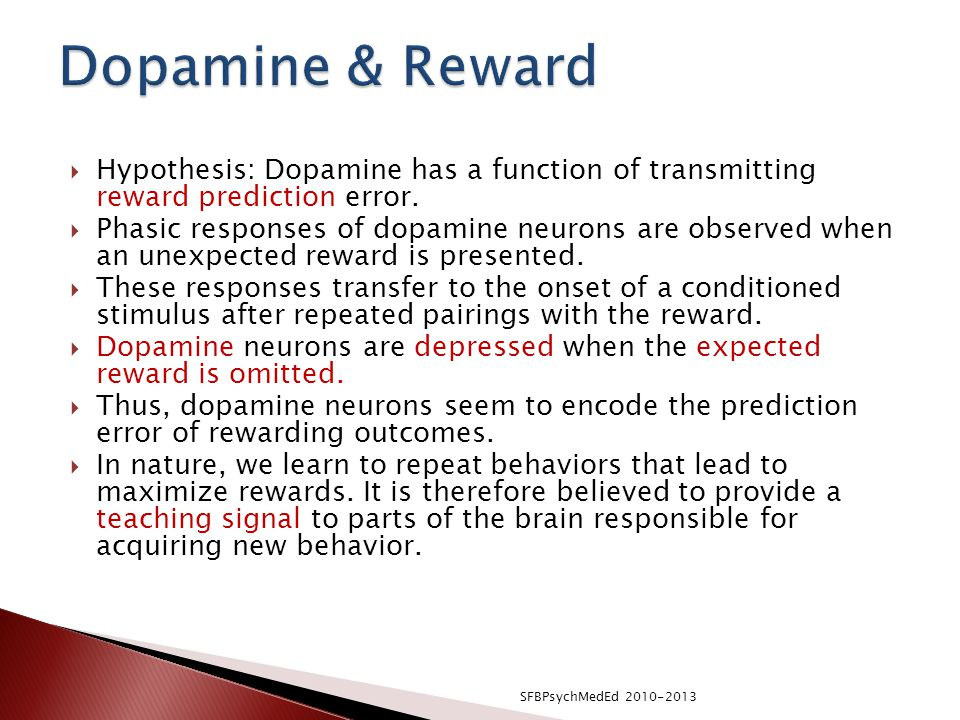 Dopamine & Reward Hypothesis: Dopamine has a function of transmitting reward prediction error.