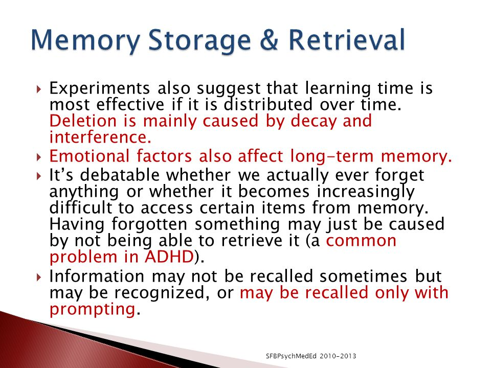 Memory Storage & Retrieval