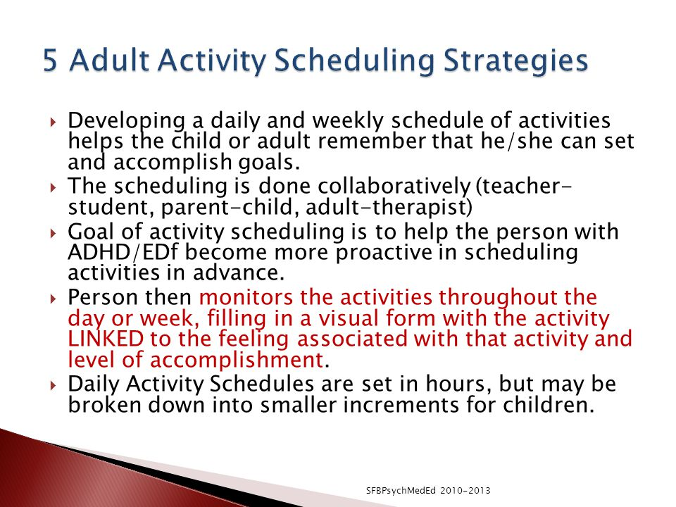 5 Adult Activity Scheduling Strategies