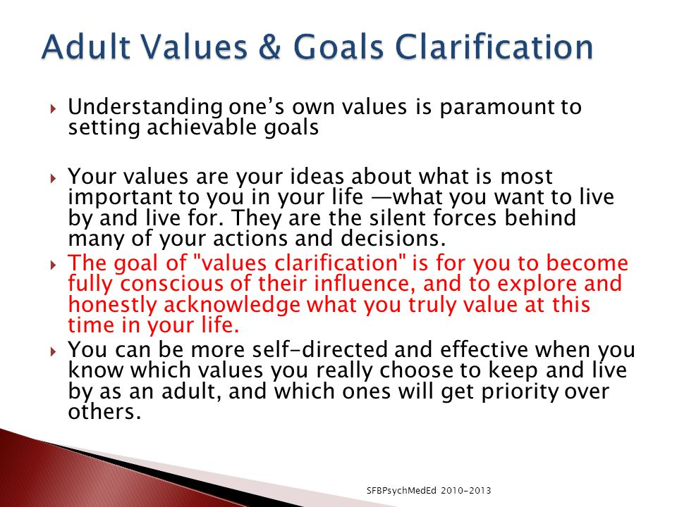 Adult Values & Goals Clarification