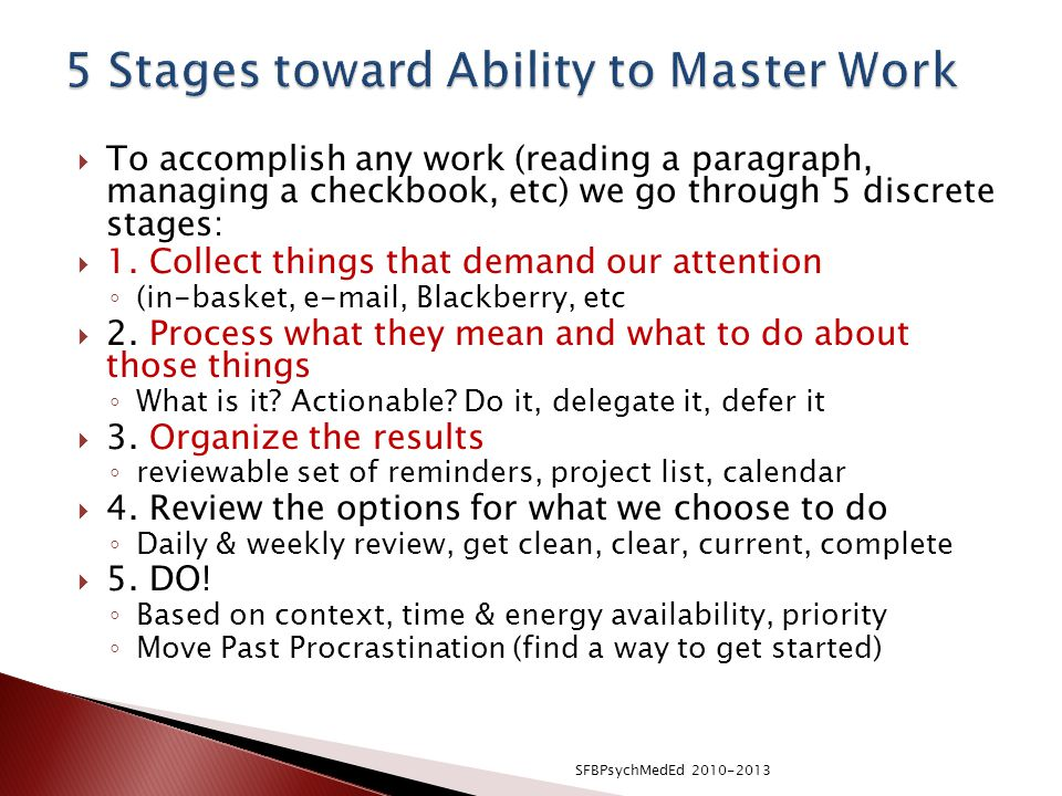 5 Stages toward Ability to Master Work