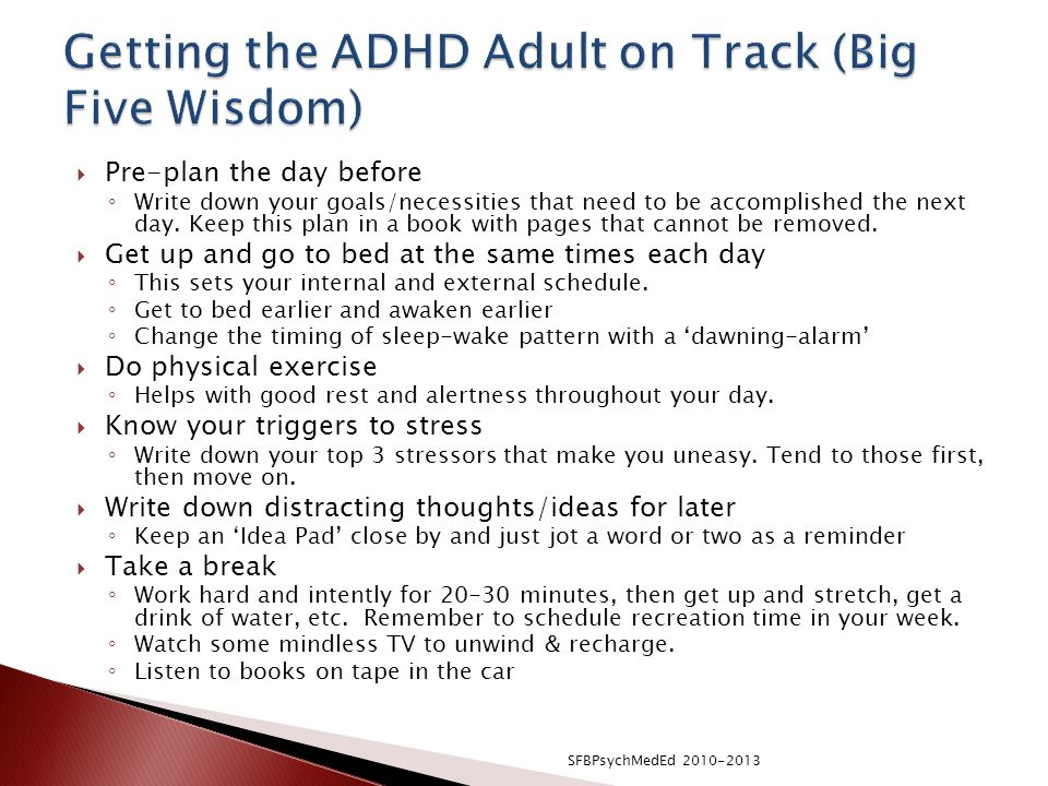 Getting the ADHD Adult on Track (Big Five Wisdom)