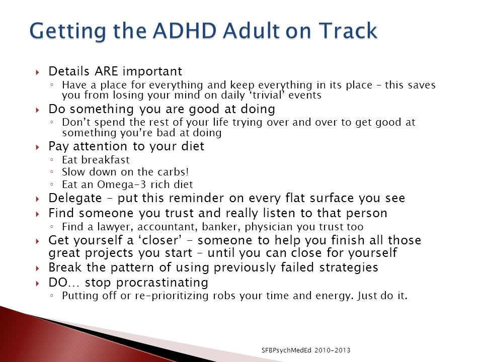 Getting the ADHD Adult on Track