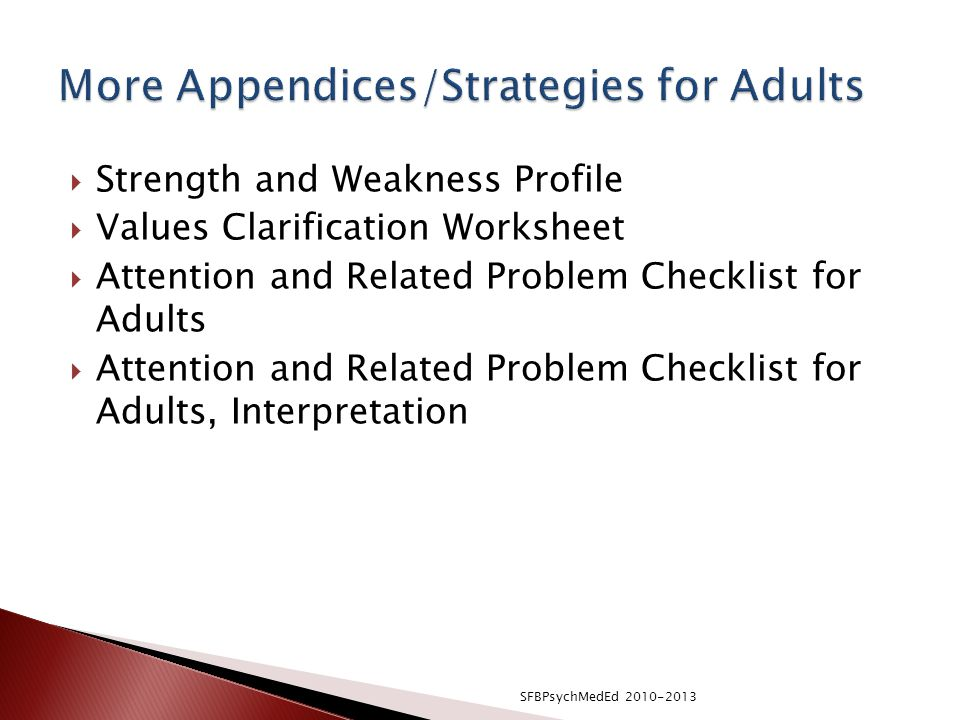 More Appendices/Strategies for Adults