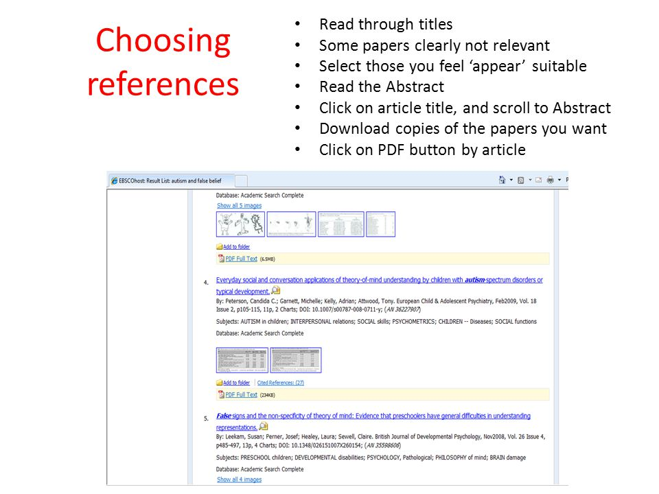 Choosing references Read through titles