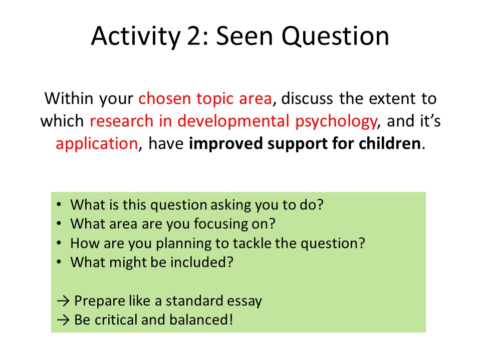 Activity 2: Seen Question