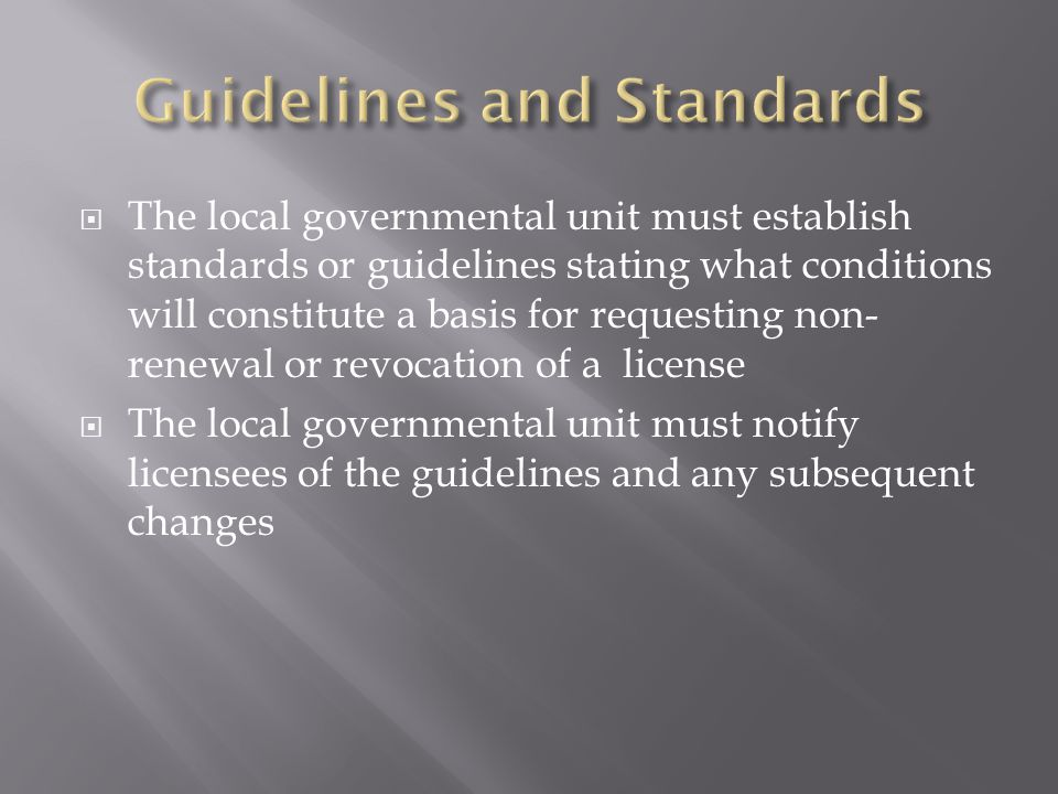 Guidelines and Standards