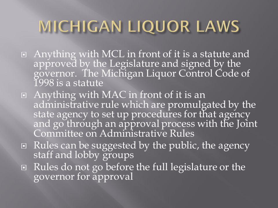 MICHIGAN LIQUOR LAWS