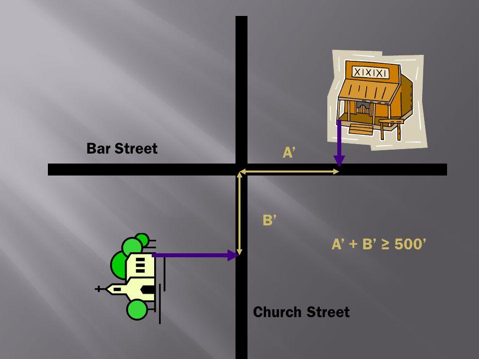 Bar Street A' B' A' + B' ≥ 500' Church Street