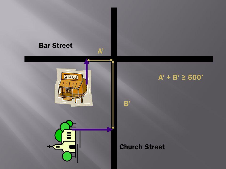 Bar Street A' A' + B' ≥ 500' B' Church Street