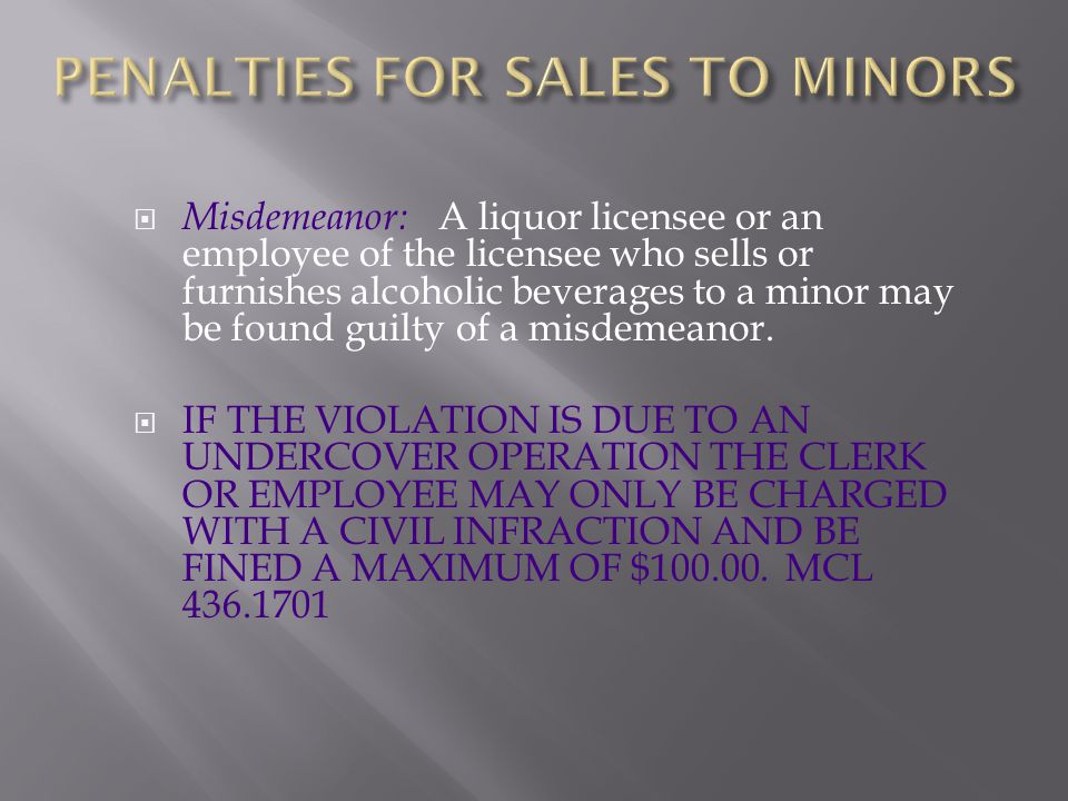 PENALTIES FOR SALES TO MINORS