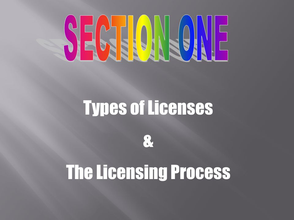 SECTION ONE Types of Licenses & The Licensing Process