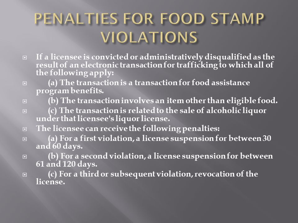 PENALTIES FOR FOOD STAMP VIOLATIONS