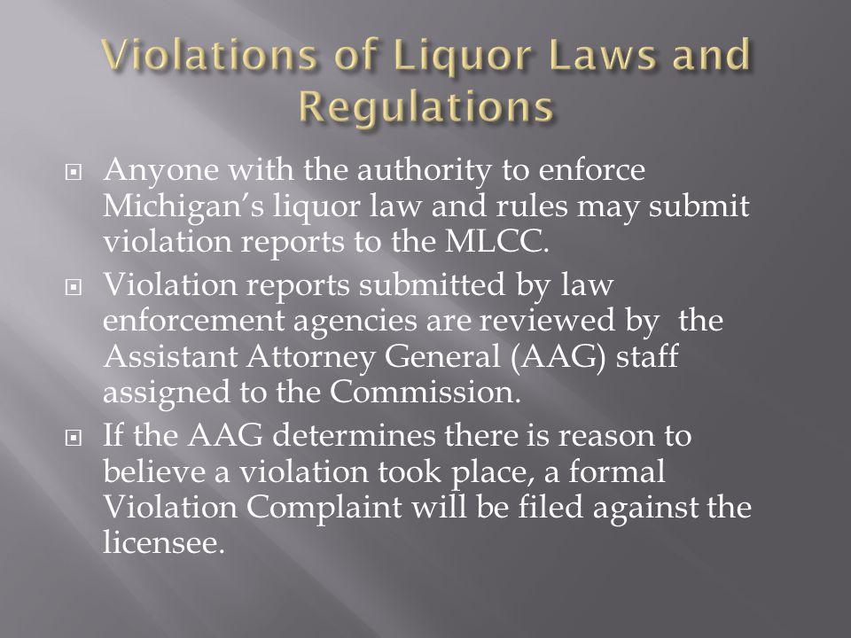 Violations of Liquor Laws and Regulations
