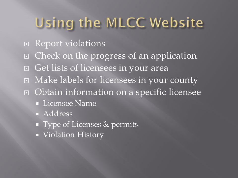 Using the MLCC Website Report violations