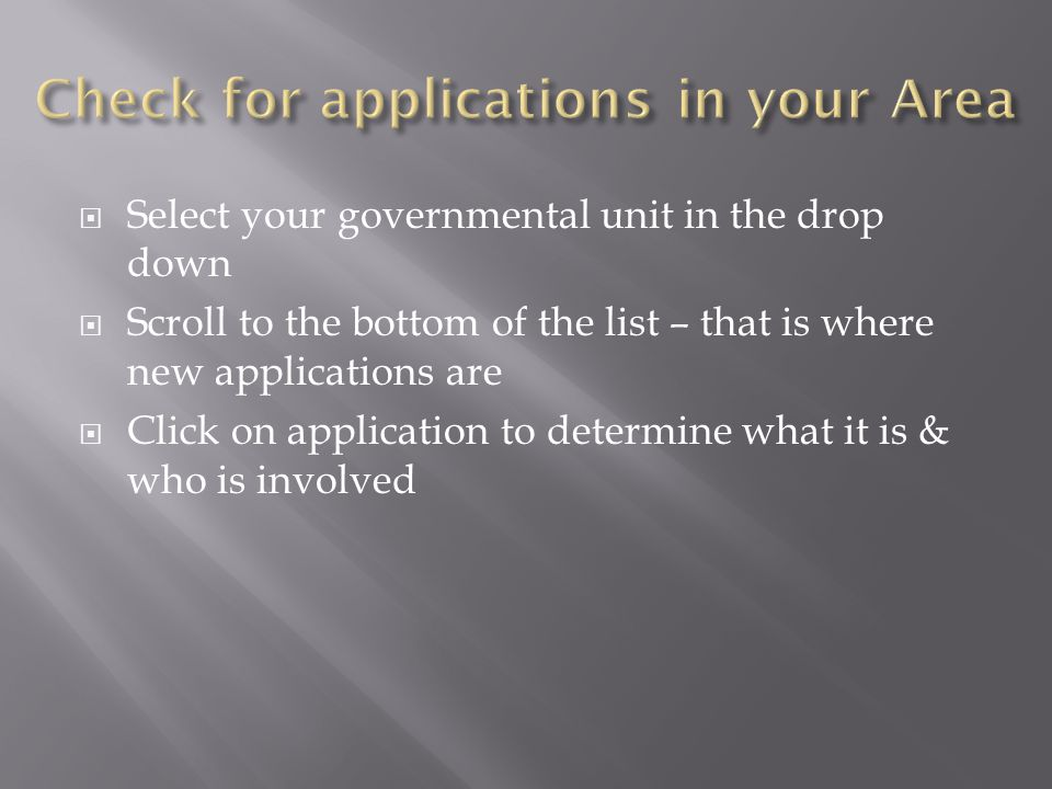 Check for applications in your Area