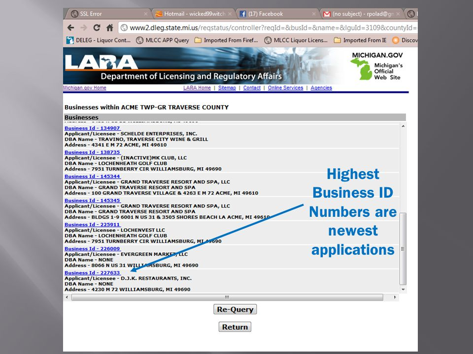 Highest Business ID Numbers are newest applications