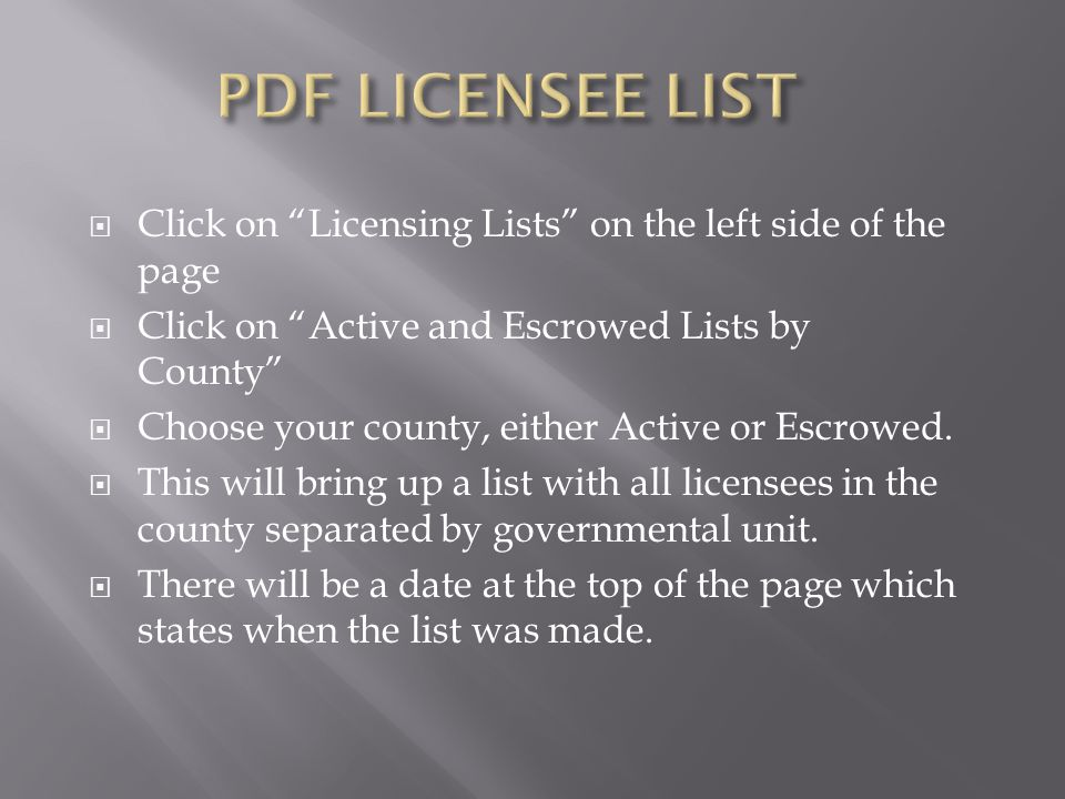 PDF LICENSEE LIST Click on Licensing Lists on the left side of the page. Click on Active and Escrowed Lists by County