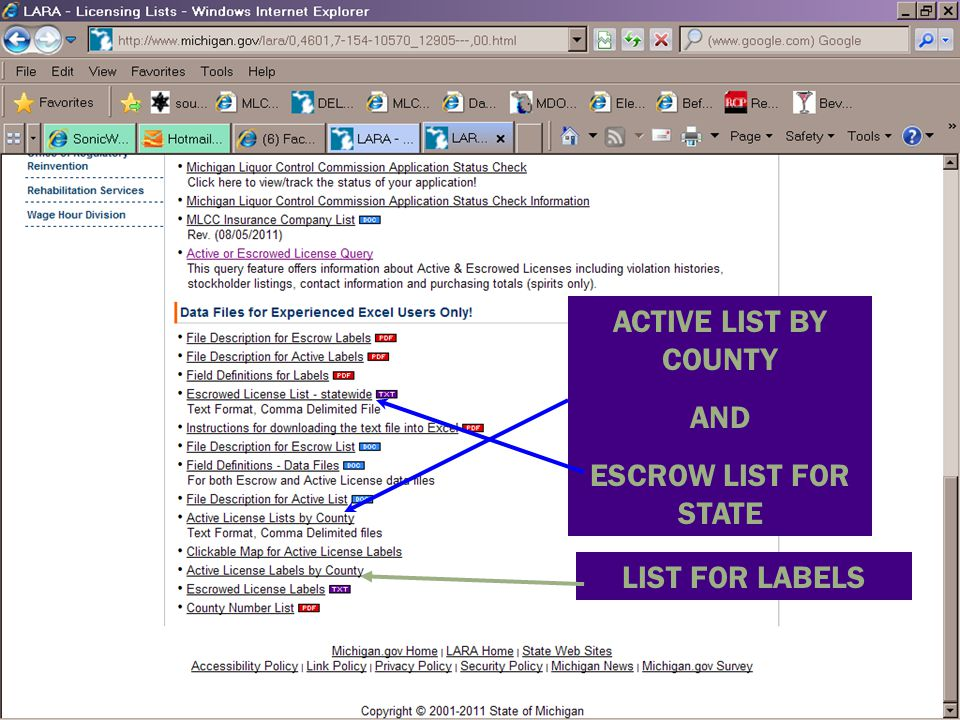 ACTIVE LIST BY COUNTY AND ESCROW LIST FOR STATE LIST FOR LABELS