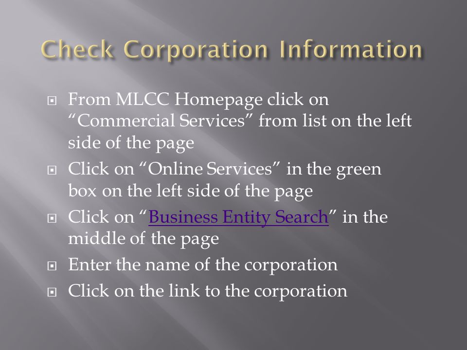 Check Corporation Information