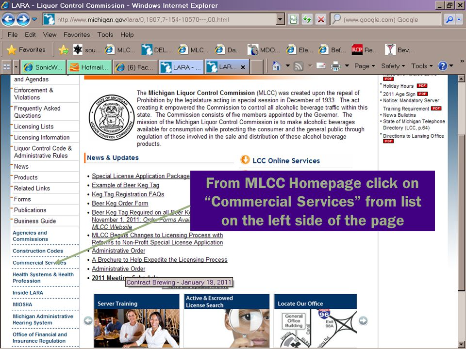 From MLCC Homepage click on Commercial Services from list on the left side of the page