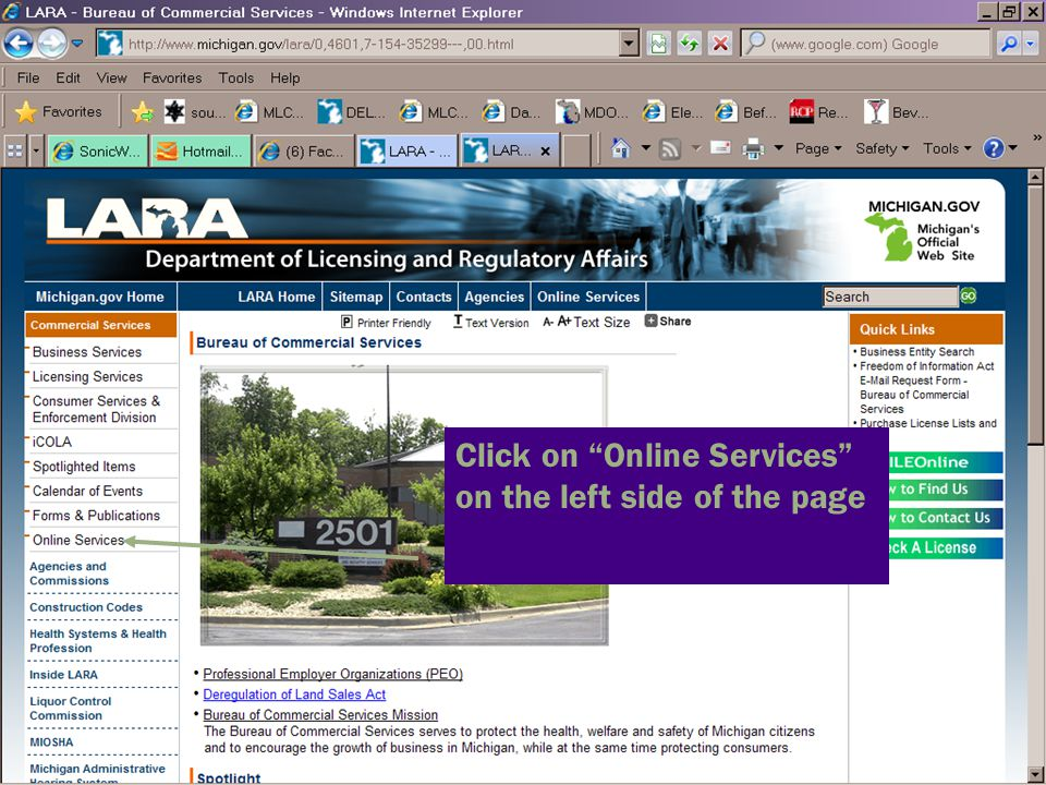 Click on Online Services on the left side of the page
