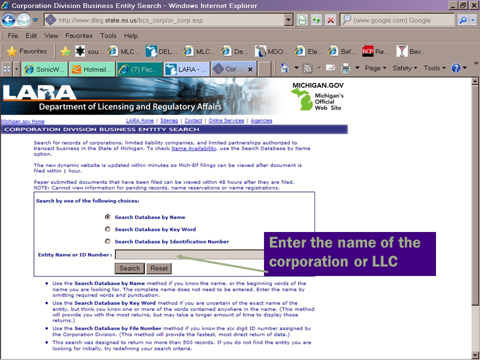 Enter the name of the corporation or LLC